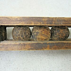 Antique Wooden Whimsy Hand Carved Wood Balls in Cage Frame FOLK ART 20 inches