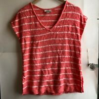 ANN TAYLOR LOFT Coral Orange White Striped Cotton Sleeveless Sweater Top Small