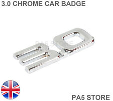 3.0 Full Chrome Car Badge -One Piece Toyota Mazda Audi VW BMW Ford Nissan Van UK