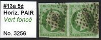 FRANCE 13a PAIR 3256 DOT CANCEL XF SOUND $500+ SCV SHOWS 2 ADJACENT STAMPS