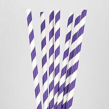 25 Pcs Medium Purple Stripe Paper Drinking Straw Party Wedding SS23