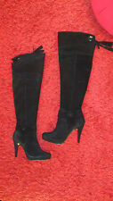 Over the knee black leather women boots size 6 super sexy!
