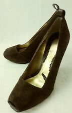 Zinc Womens Shoes Heels US 7 M Brown Suede Slip-on Peep Toe Work Dress