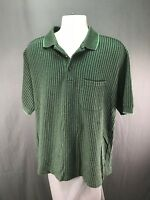 Men's Dockers Golf Green Striped Short Sleeve Polo Shirt Size L Large