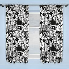 Marvel Comics Crop Avengers Black & White 66 X 54 Inch Drop Curtains Pair