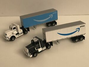 2 TYCO US1 CUSTOM AMAZON DELIVERY TRAILERS TRUCKS HO SLOT TRUCKING CLEAN CHASSIS