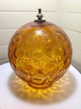 """Vintage Ball Shade Amber Lamp Globe Crackle Glass Coin Dot 9.25""""h X 3.75""""Fitter"""