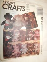 "Stuffed Bear Doll Sewing Pattern 5172 McCalls Crafts 21"" Uncut FF Variations"