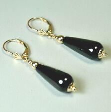 14 solid y/gold 20x8mm teardrop natural black Onyx earrings leverback 4.2 grams