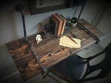 """60"""" Industrial Suspended Iron Pipe & Solid Wood WALL MOUNTED DESK Floating Shelf"""