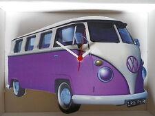 Purple Split Screen Design Classic VW Camper Van Wall Clock. New & Boxed