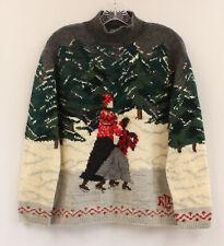 Ralph Lauren Petite Hand Knit Ice Skating Ski Wool Pullover Sweater Sz M P Pm