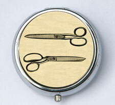 Retro Scissors pill case pillbox holder pill boxes victorian illustration sheers