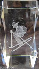 3D Laser Etched Snow Skier Figurine Solid Glass Crystal Block Money/Paperweight