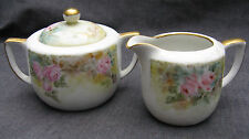Antique American Painted Porcelain Pink Roses Creamer and Lidded Sugar Bowl