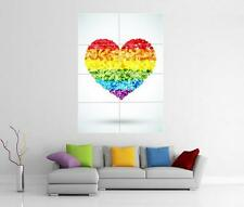 Rainbow love coeur drapeau lgbt gay pride wall art photo pic imprimé poster