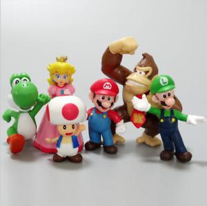 Kids Super Mario Luigi Yoshi Action Figures Toys Playset Cake Toppers Collection