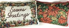 Christmas Throw Pillow Lot Set Tapestry Pillows Poinsettia Seasons Greetings Red