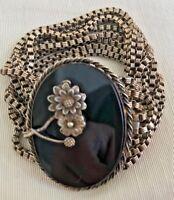 Vintage Bracelet Black Glas Oval Floral Metal Eight Antiqued Brass Metal Chains