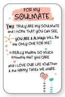 FOR MY SOULMATE WALLET CARD INSPIRED WORDS Verse Keepsake Sentimental Gift💕