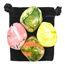 PAST LIFE WORK & HEALING Tumbled Crystal Healing Set = 4 Stones + Pouch + Card