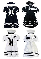 New Baby Girl & Toddler Sailor Nautical Cruise Formal Outfits Dress Navy