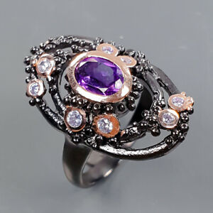 Vintage Amethyst Ring Silver 925 Sterling  Size 8 /R178260