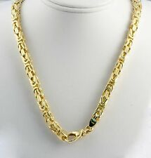 "138.40 gm 14k Yellow Solid Gold Women's Men's Byzantine Chain Necklace 22"" 6 mm"