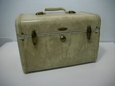 Vtg TAN Samsonite Shwayder STREAMLITE ~ TRAIN CASE MakeUp Bag w/ MIRROR & TRAY