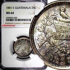 Guatemala 1881 E 25 Centavos NGC MS64 RAINBOW Toned TOP GRADED BY NGC KM# 205.1