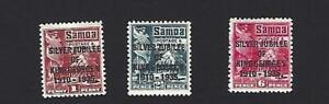 SAMOA 1935 GEORGE V SILVER JUBILEE SET OF 3 STAMPS. SG.177 - 179, MH