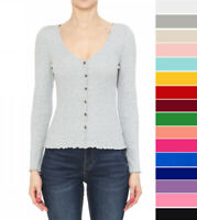 Women's Basic V-Neck Long Sleeve Button Front T-Shirt Top Soft Ribbed Knit Solid