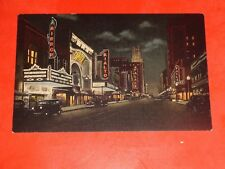 ZN730 Vintage Linen Postcard Theatre Row Elm Street Dallas Texas