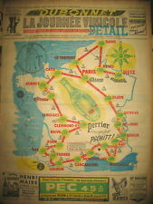 CARTE TOUR DE FRANCE CYCLISTE PUBLICITE PERRIER JOURNAL LA JOURNéE VINICOLE 1951