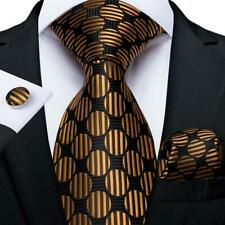 Black Brown Dots Stripped Silk Tie Set Necktie Pocket Square Cufflinks Wedding