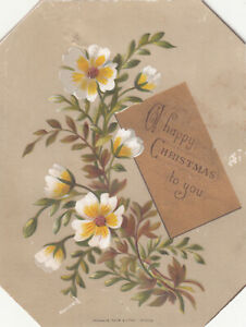 A Happy Christmas To You Yellow & White Flowers Raphael Tuck  Vict Card c1880s
