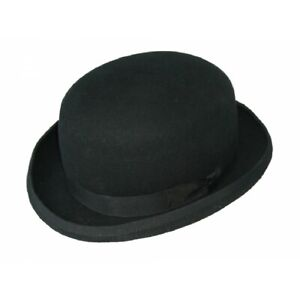 Black Bowler Hat Wool Felt - Christys' Hats Fashion Red Lining Size: S Small