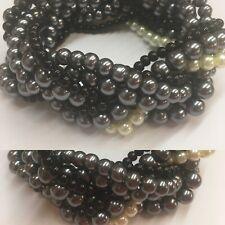 Preloved - Tri-Colour Faux Pearl Bead Stretch Bracelet