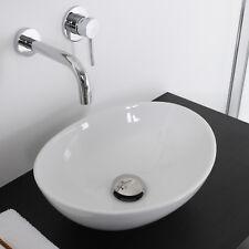 Bacinella d'appoggio lavabo ovale in ceramica 40x33 bianco