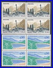 ANDORRA FRANCE 1970/71 VIEWS in BLOCKS of 4 SC#165A-66A MNH