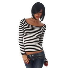 Sexy Carmen Pullover Schulterfreier Pullover gestreift Weiß Schwarz 34 36 38