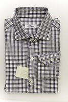 BELVEST by Finamore Napoli Shirt Cotton Twill Checks Blue Gray 15 1/2 - 39 Reg