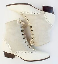 Booties Ankle Boot Granny Brogue Edwardian Cream Leather Suede Lace Up Women 8.5