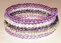 New memory wire bracelet purple/white/silver glass beads.    FREE SHIPPING