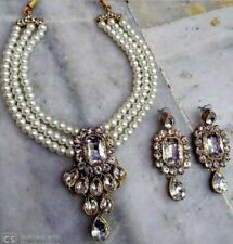 Indian Bollywood Style CZ AD Wedding Silver Fashion Jewelry Pearl Necklace Set