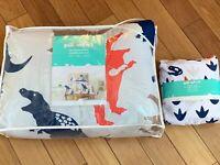 Pillowfort Twin Size Comforter And Sheet Set Blue Orange Tan Dinosaur New
