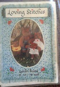 Loving Stitches Lovin' Bears Stuffed Teddy Bear Family Dolls Sewing Pattern 1982