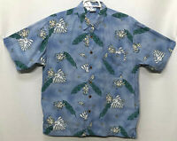 Mens Ocean Pacific Large Blue Floral Short Sleeve Button Front Hawaiian Shirt