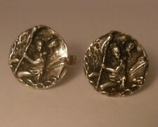 Round Sterling Silver Cufflinks Old Fenwick & Sailors St.Christopher Protect Me
