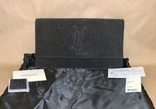 $725 YVES SAINT LAURENT Chyc Black Glitter Shimmer YSL Logo Clutch Evening Bag
